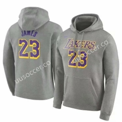 Lakers NBA Gray #23 (JAMES) With Hat Tracksuit Top-CZ