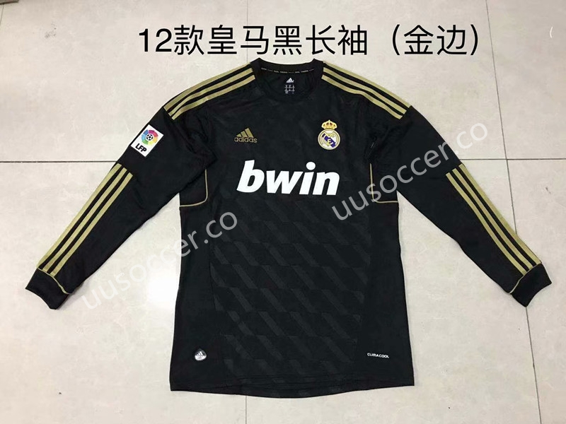 2011 2012 retro version real madrid away black with gold sleeve ls
