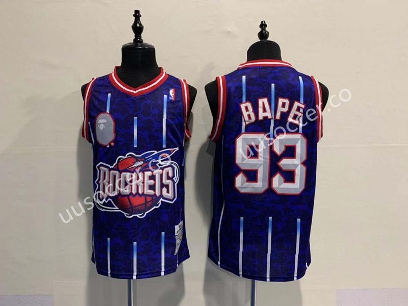 buy popular ab27c 61ac0 Bape Version NBA Houston Rockets Blue #93 Jersey,BAPE