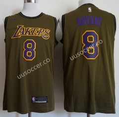 Lakers NBA Round Neck Army Green #8 Jersey
