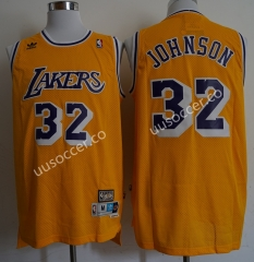 Retro Version Lakers NBA Round Neck Yellow #32 Jersey