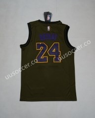 Lakers NBA Round Neck Army Green #24 Jersey