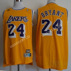 Retro Version Lakers NBA Round Neck Yellow #24 Jersey