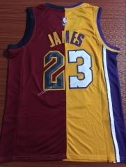 Split Version Lakers NBA  Red & Yellow #23 Jersey
