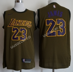 Lakers NBA Round Neck Army Green #23 Jersey