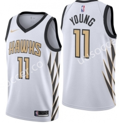 City Version NBA Atlanta Hawks White #11 Jersey