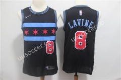 City Version NBA Bull Black #8 Jersey