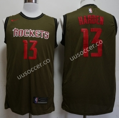 NBA Houston Rockets Army Green #13 Jersey