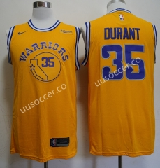 Retro version NBA Golden State Warriors Yellow #35 Jersey