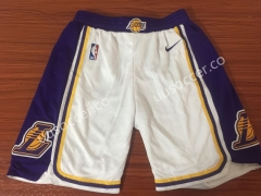 Retro version Lakers NBA White Shorts