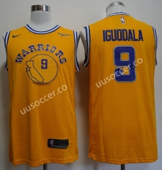 Retro version NBA Golden State Warriors Yellow #9 Jersey