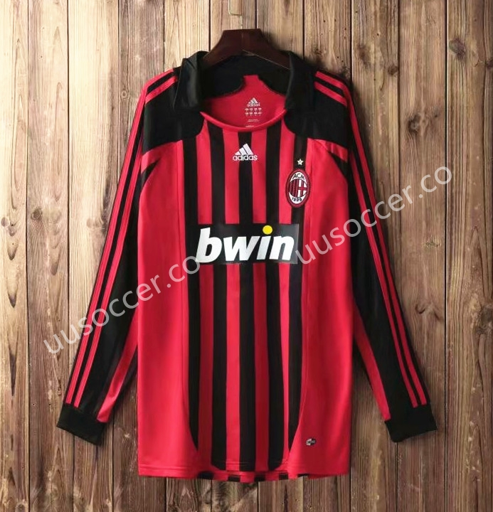 2006-2007 AC Milan Home Red   Black LS Thailand Soccer Jersey AAA-SL ... d43ab02d4