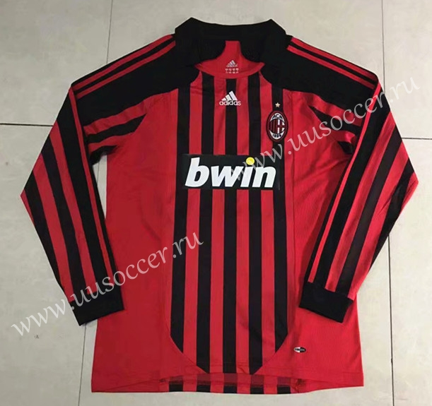 26fc3169670 2008 AC Milan Home Red   Black LS Thailand Soccer Jersey AAA-510-AC ...