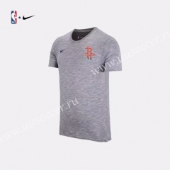 2019 NBA Houston Rockets Gray With Orange logo Cotton T-shirt