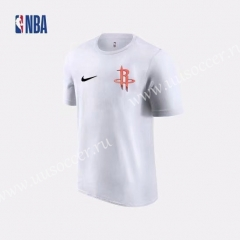 2019 NBA Houston Rockets White Cotton T-shirt