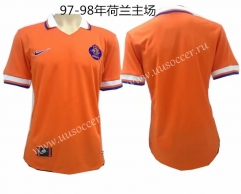 1997-1998 Retro Version Netherlands World cup  Home Orange Thailand Soccer Jersey AAA