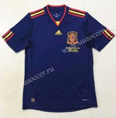 2010 Retro Version Spain  Away Royal Blue Thailand Soccer Jersey AAA-510