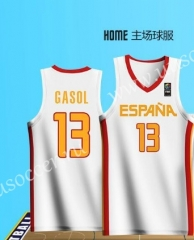 2019 World Cup Spain Home White #13 GASOL NBA Jersey