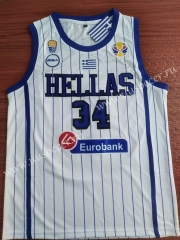 2019 World Cup Greece  White #34  NBA Jersey