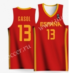 2019 World Cup Spain Away Red #13 GASOL NBA Jersey