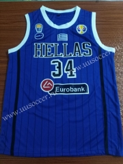 2019 World Cup Greece Blue #34 NBA Jersey