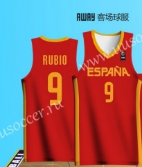 2019 World Cup Spain Away Red  #9 RUBIO NBA Jersey