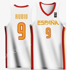 2019 World Cup Spain Home White #9 RUBIO NBA Jersey