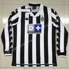 Retro Version 1999-2000 Juventus Home Black & White Thailand LS Soccer Jersey AAA-SL