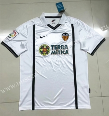 2001-2002 Retro Version Valencia Home White With black logo Thailand Soccer Jersey AAA-SL