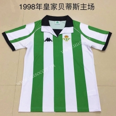 1998  Retro Version Real Betis Home White and Green Thailand Soccer Jersey AAA-DG