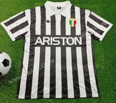 Retro Version 1984 Juventus Home White & Black Thailand Soccer Jersey AAA-503