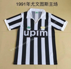 Retro Version 1991Juventus Home White & Black Thailand Soccer Jersey AAA-DG