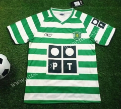 2003-2004 Retro Version Sporting Clube de Portugal Home White & Green Thailand Soccer Jersey AAA-503
