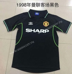 1998 Retro Version Manchester United  Away Black Thailand Soccer Jersey AAA-DG