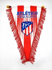 Atletico Madrid Red Soccer Triangle Flag