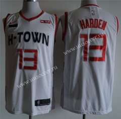 With both logo City Version NBA Houston Rockets White #13 Jersey