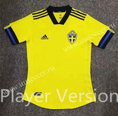 Player Version 2020 European Cup Sweden Home Yellow Thailand Soccer Jersey AAA-807