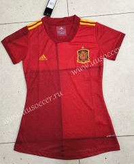 2020 European Cup Spain Home Red Female Thailand Soccer Jersey
