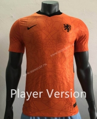 Player Version 2020 European Cup Netherlands Home Orange Thailand Soccer Jersey AAA