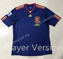 Player Version Final Retro version 2010 World Cup Spain Blue Thailand Soccer Jersey AAA-SL