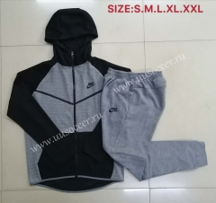 2020-2021 Nike Gray With Hat Soccer Jacket Uniform (Black pocket)