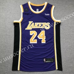 Retro Version NBA Lakers Royal Blue Round Collar #24 Jersey