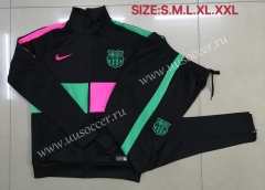 2020-2021 Barcelona Black with Pink and Green Thailand Soccer Jacket Uniform-815