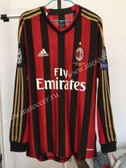 Retro version AC Milan Home Red & Black LS Thailand Soccer Jersey AAA