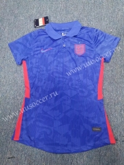 2020 European Cup England Away Blue Female Thailand Soccer Jersey