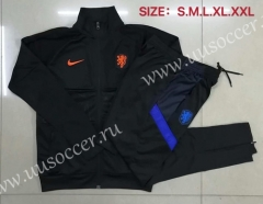 2020-2021 Netherlands Black High Collar Thailand Soccer Jacket Uniform-815