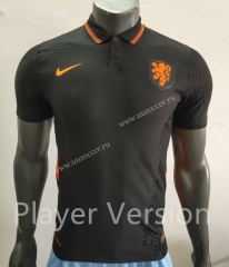 Player Version 2020 European Cup Netherlands Away Black Thailand Soccer Jersey AAA