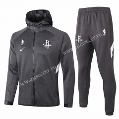 2020-2021 NBA Houston Rockets Gray With Hat Jacket Uniform-815