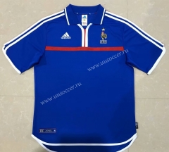 2000 Retro Version European Cup France Blue Thailand Soccer Jersey AAA-510