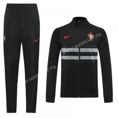 2020-2021  Portugal  Black High Collar Thailand Soccer Jacket Uniform-LH